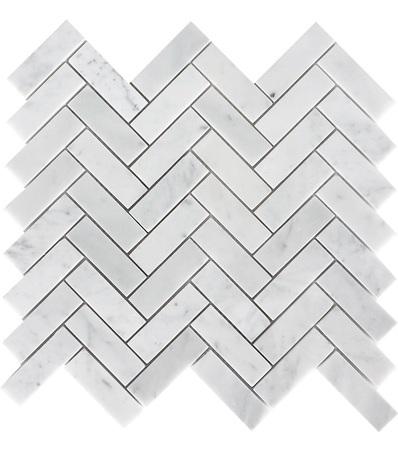 Carrara White 1x3 Herringbone Pattern Polished