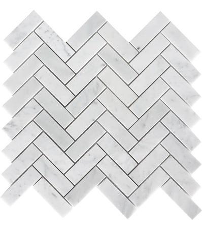 Arabescato Carrara 1x3 Herringbone Polished