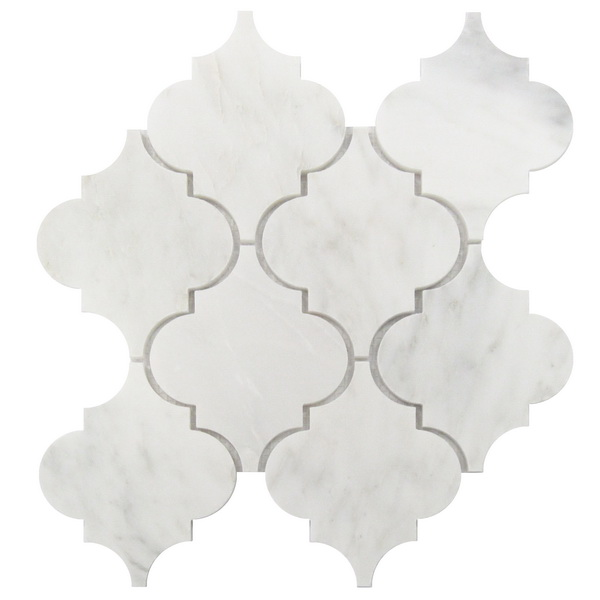 FREE SHIPPING - Carrara White Large Arabesque Polished