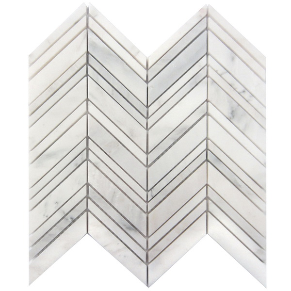 Carrara White 1x4 Chevron Honed