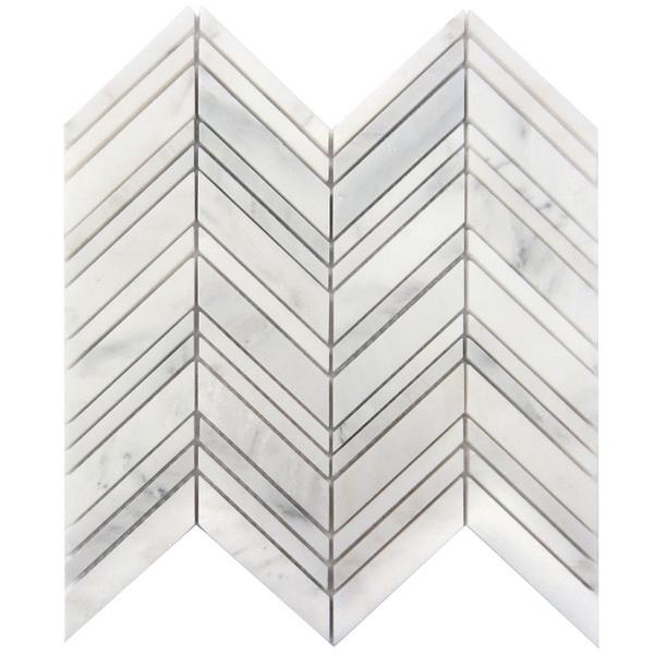 Carrara White 1x4 Chevron Polished
