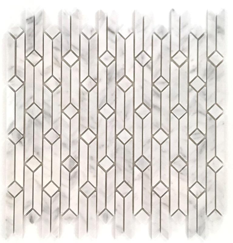 Geometric Carrara White Interlocking Mosaic