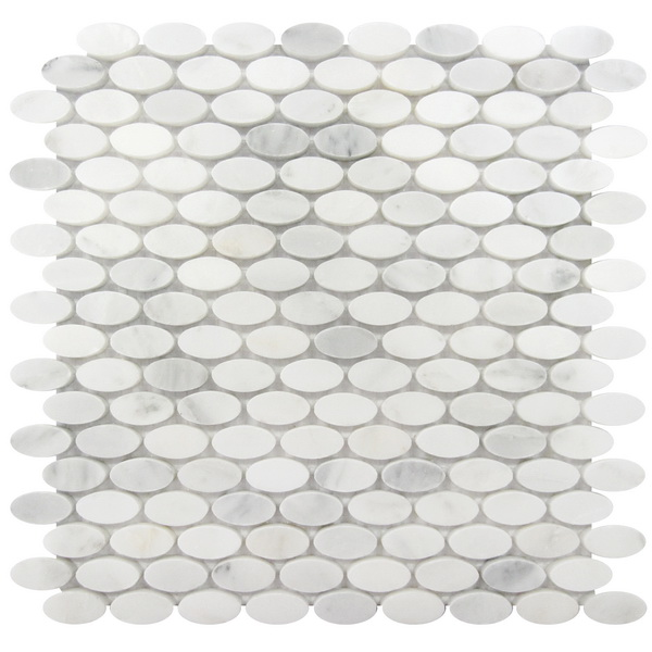 Carrara White 12x12 Oval Interlocking Mosaic