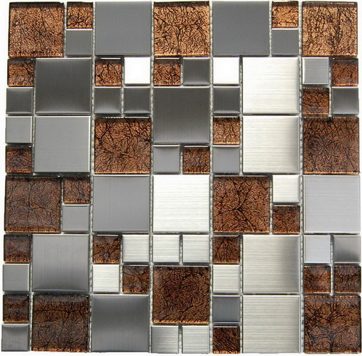 FREE SHIPPING Magic Steel and Brown Glass 12x12 Mosaic
