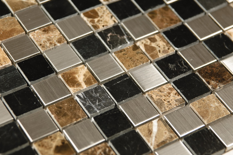 Emperador 1x1 Blended Metal Mosaic