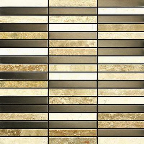 FREE SHIPPING - Odyssey 12X12 Stainless Steel and Stone Mosaic