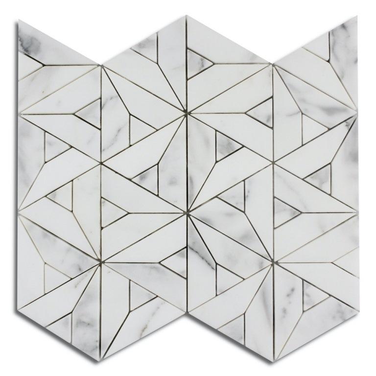 Calacatta Blanco Geometric Waterjet Marble Mosaic