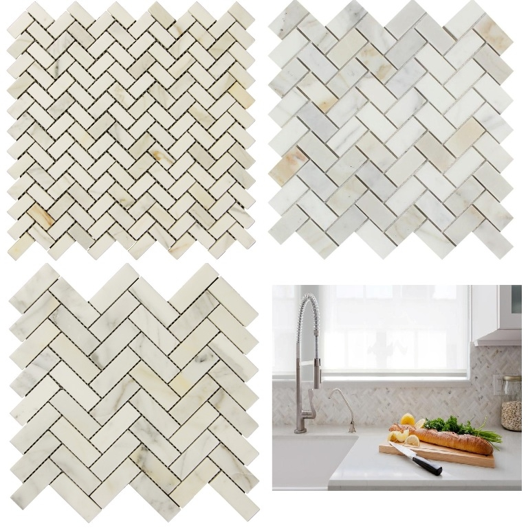 Free Shipping - Calacatta Gold Herringbone - Select Style