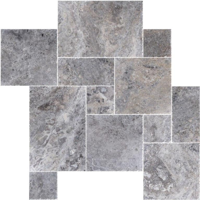 Alaskan Silver French Pattern Premium Travertine Tiles - Select Finish