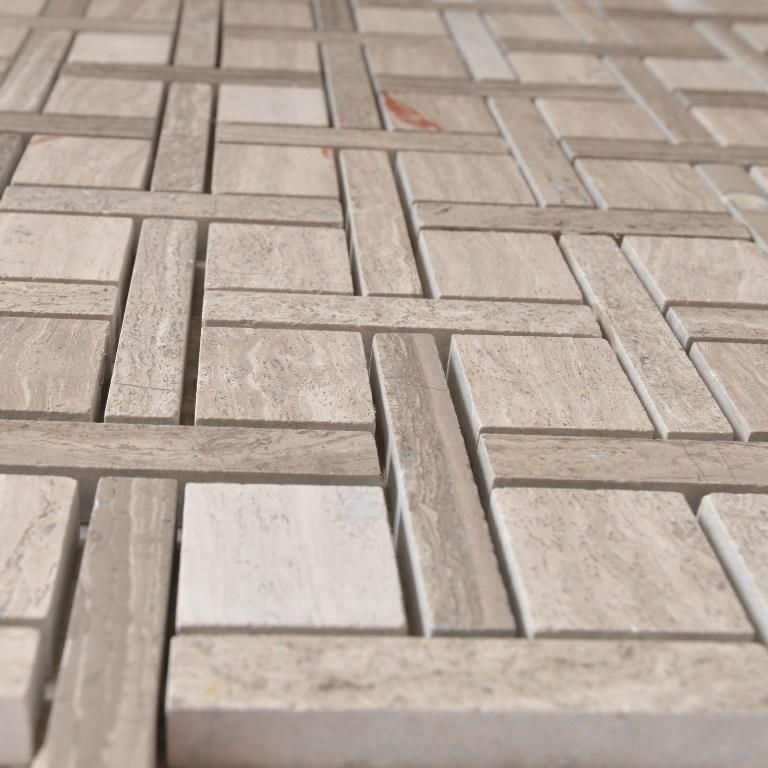 White Oak Zanger Checker 12x12 Polished Mosaic