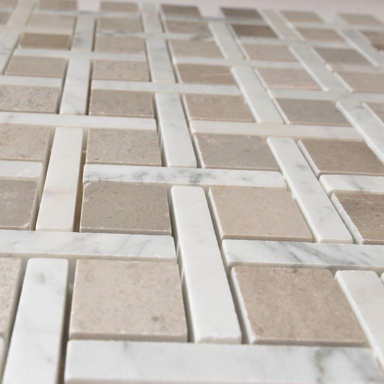 Carrara White Zanger Checker 12x12 Polished Mosaic