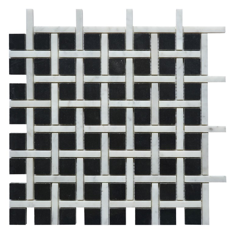 Nero Marquina Zanger Checker 12x12 Polished Mosaic