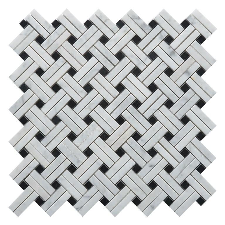 Carrara White Linear 12x12 Basketweave Mosaic