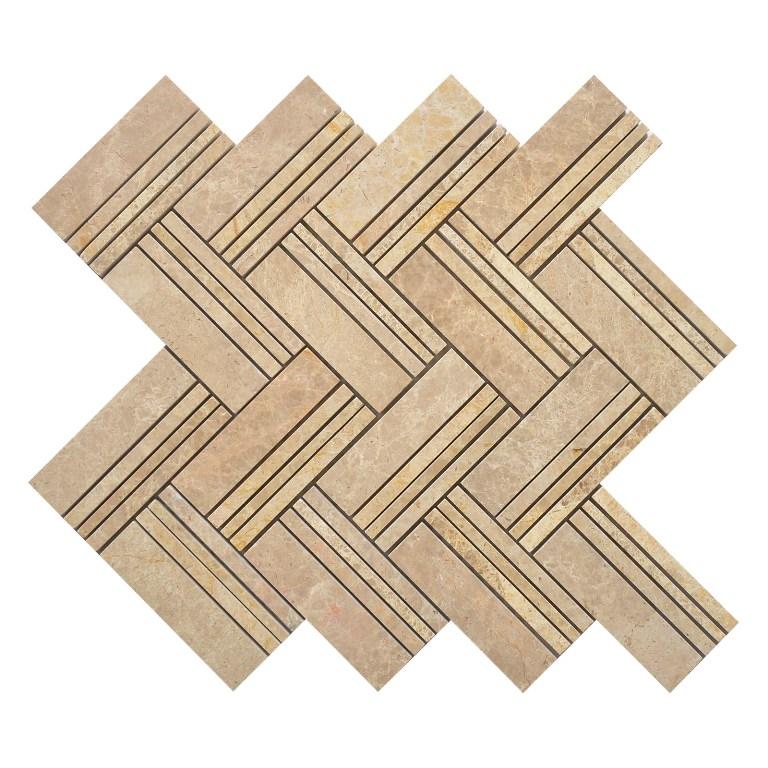 Kasaro Beige 12x12 Herringbone Polished Mosaic