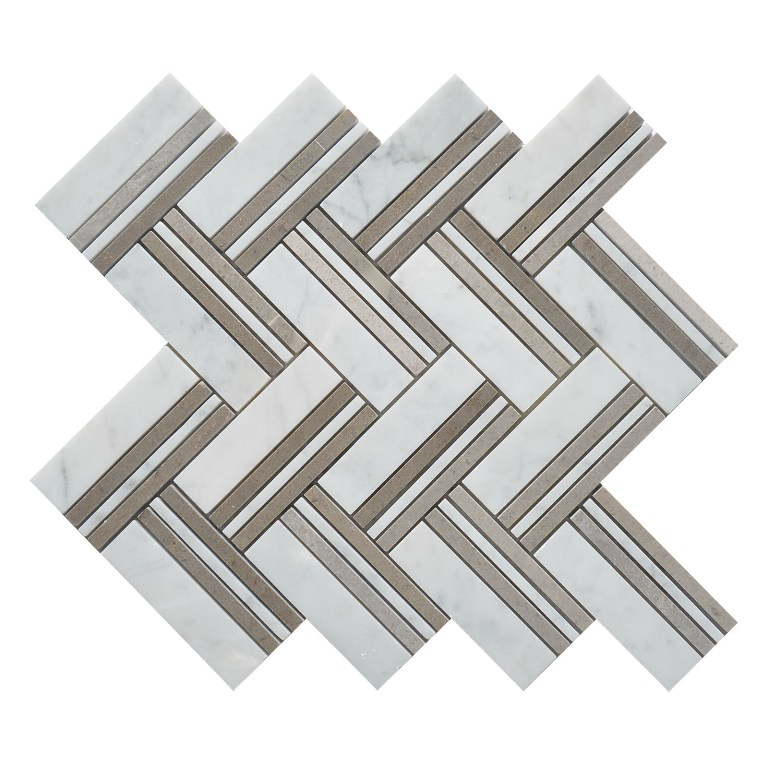 Martis White 12x12 Herringbone Polished Mosaic