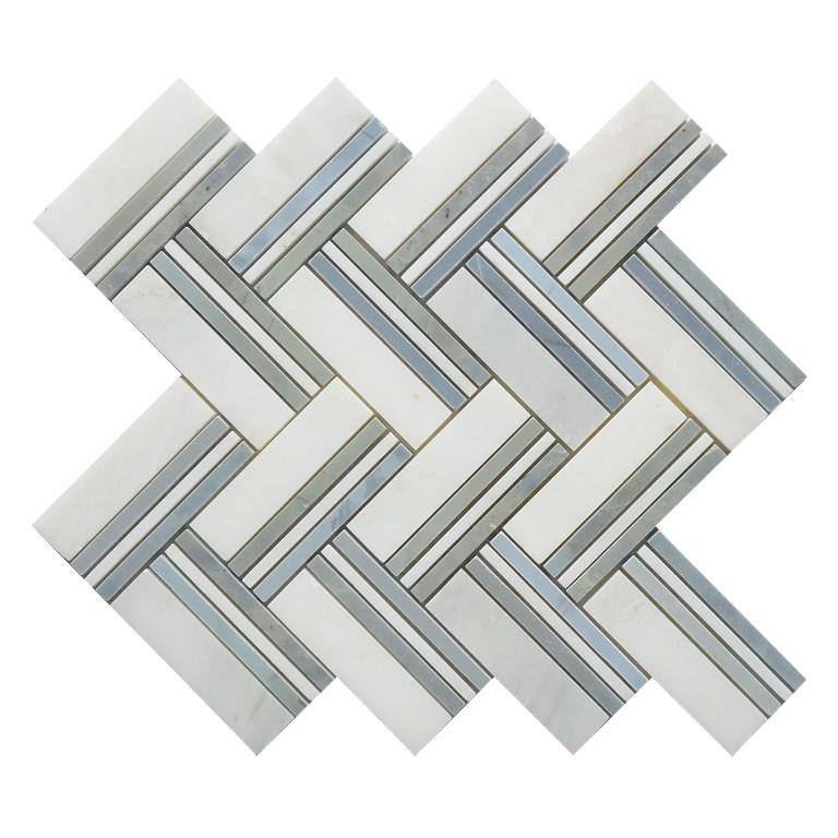 Parquet White 12x12 Herringbone Polished Mosaic