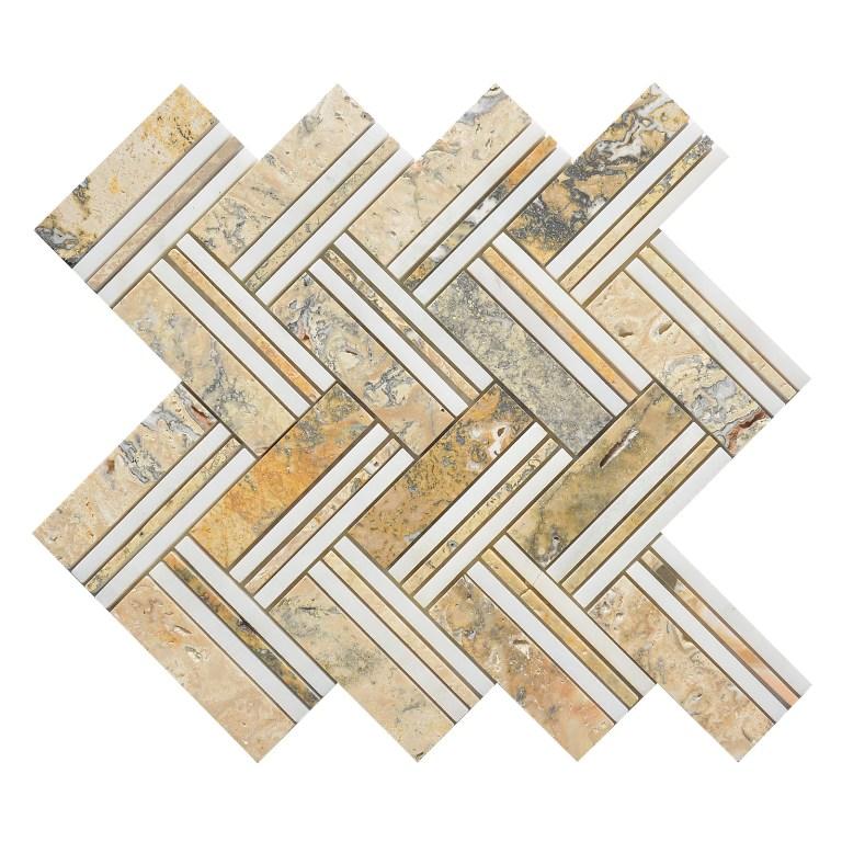 Tuscany Moore 12x12 Herringbone Interlocking Mosaic