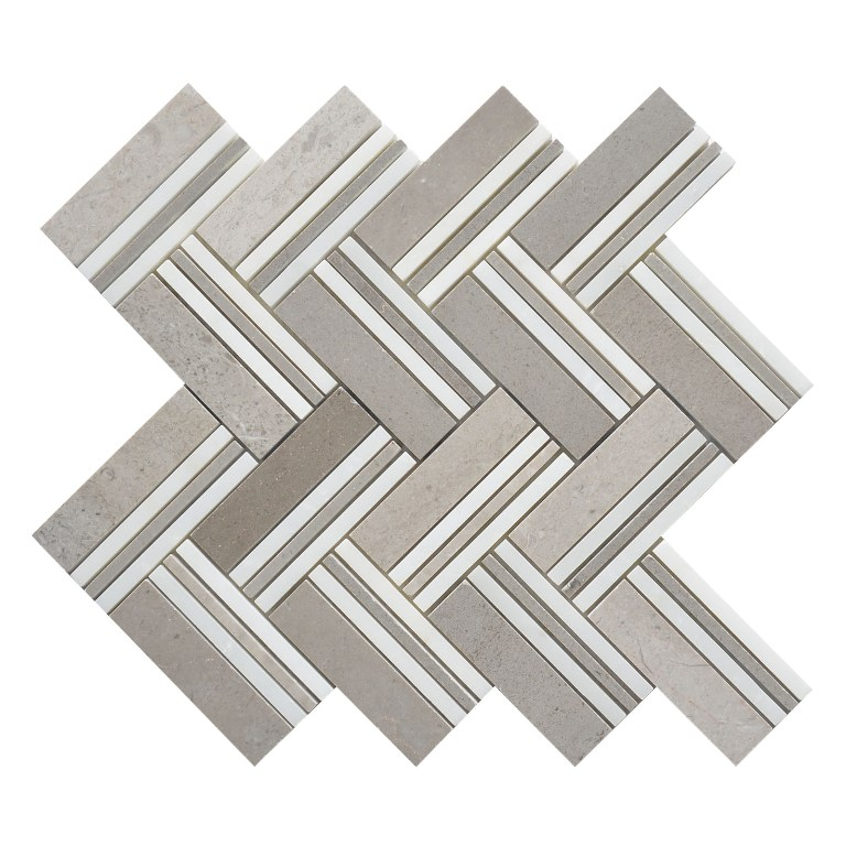 White Oak Mohegan 12x12 Herringbone Polished Mosaic