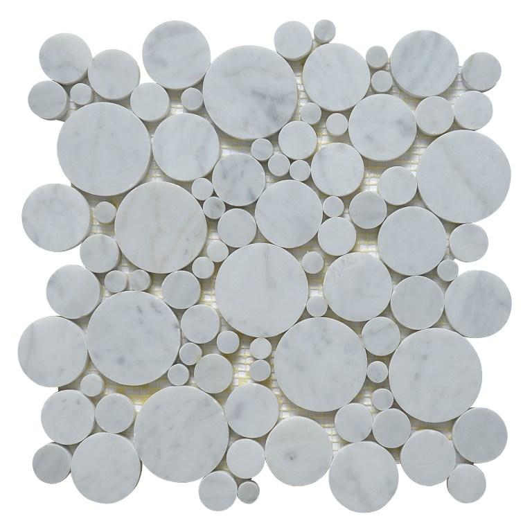 Carrara White Penny Round Polished