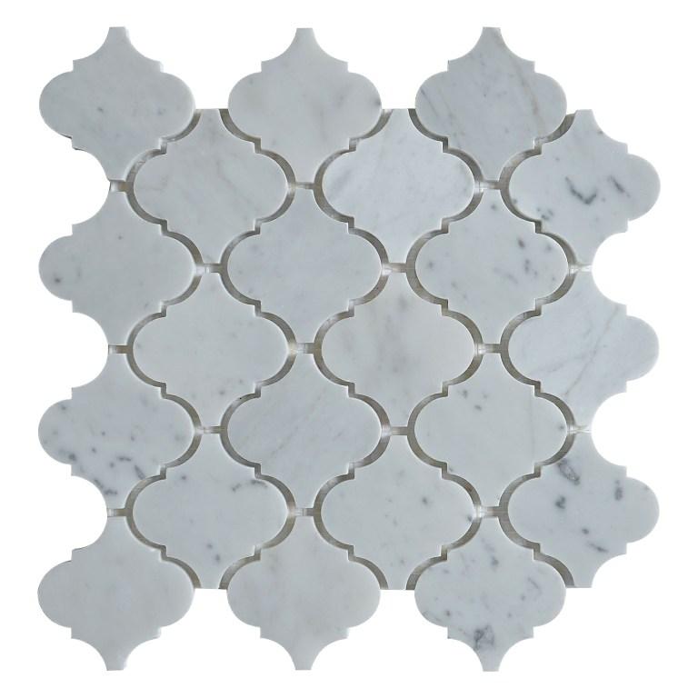 Carrara White Arabesque Interlocking Polished