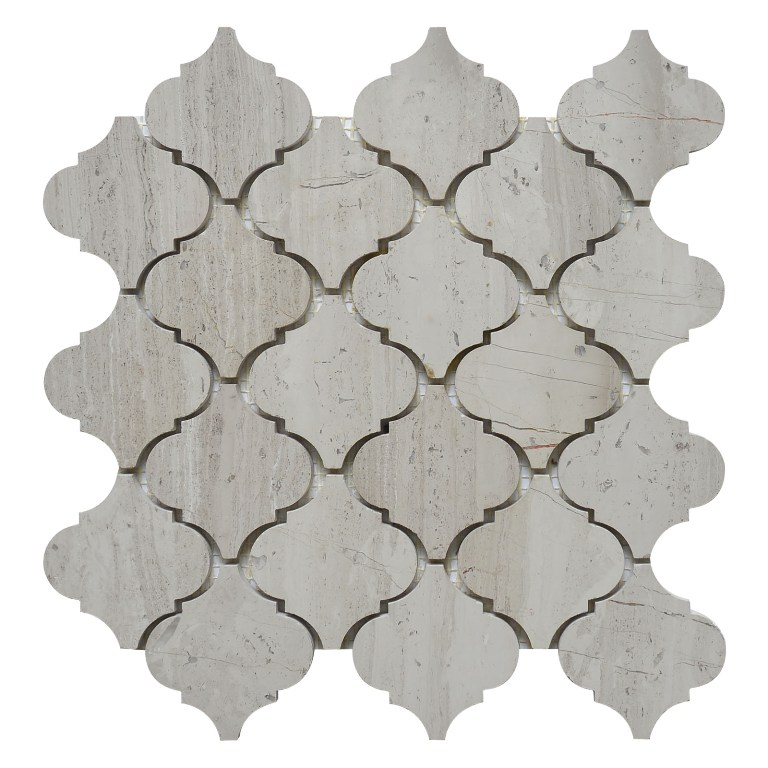 White Oak Arabesque Polished Interlocking Mosaic