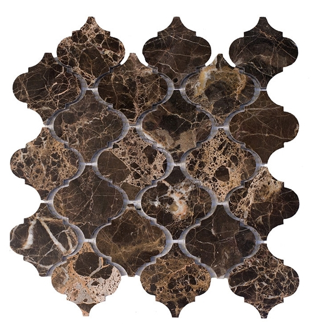 Emperador Dark Arabesque Polished Interlocking Mosaic
