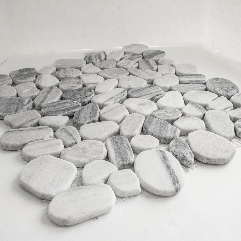 Black and White 12X12 Tumbled Pebble