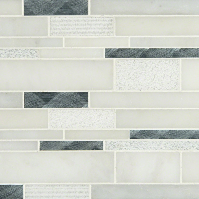 Moderno Blanco 12x18 Interlocking 8mm Mosaic