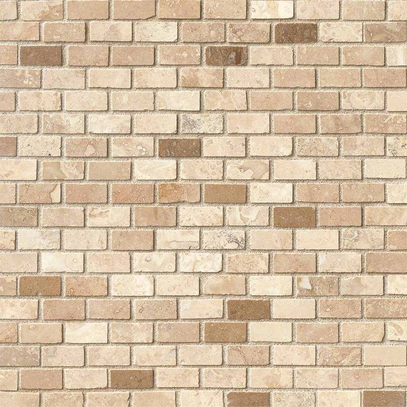 Noce/Chiaro 12X12 Mini Brick Honed