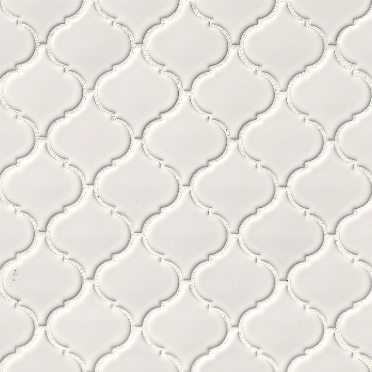 Domino White Glossy Arabesque Mosaic