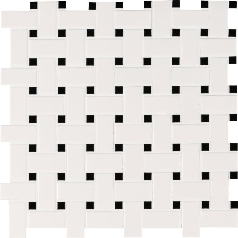FREE SHIPPING - Domino White Matte Basketweave Mosaic