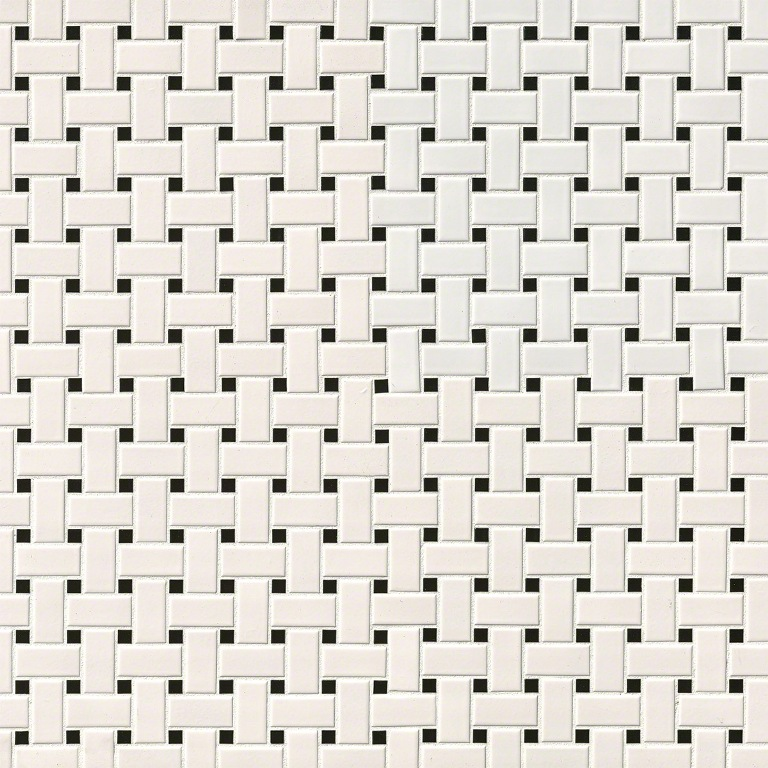 Domino White Matte Basketweave Mosaic