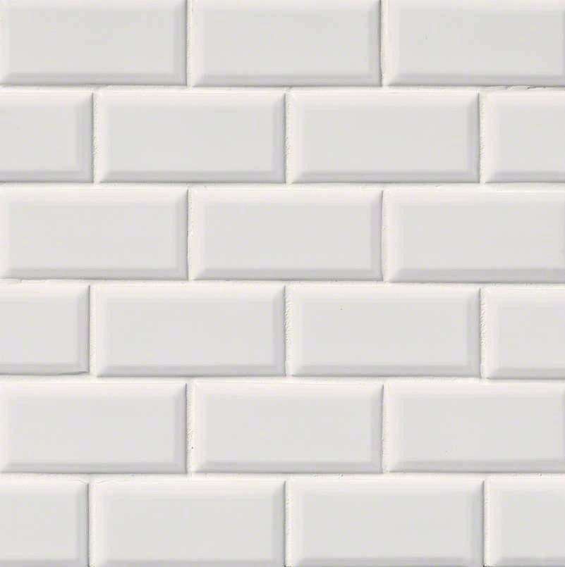 Domino White Glossy 2x4 Beveled Brick