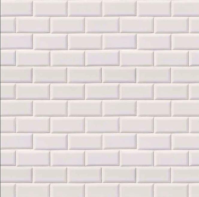 FREE SHIPPING - Domino White Glossy 2x4 Beveled Brick