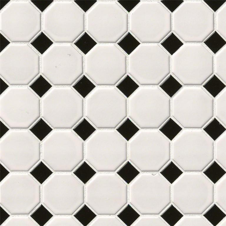 Domino White Matte Octagon Mosaic