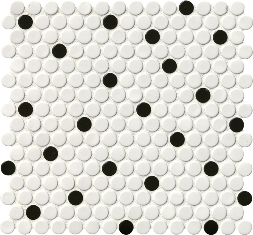 Domino White And Black Penny Round Mosaic