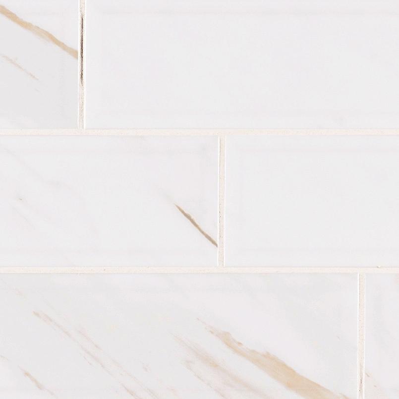 Classique White Calacatta Glossy Beveled 4x16 Subway