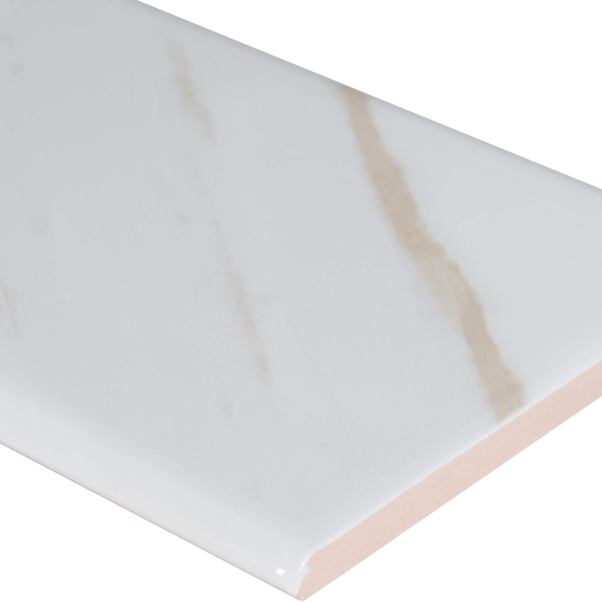 Classique White Calacatta Glossy 4x16 Bullnose
