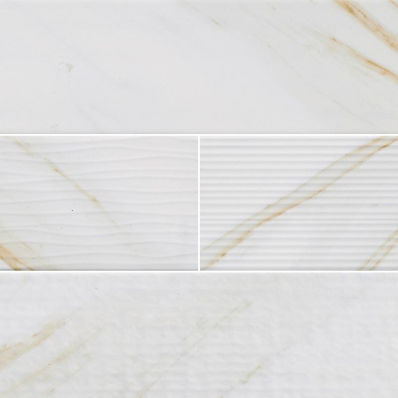 Classique White Mix Calacatta 4x16 Subway