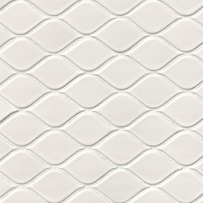 Domino White Tear Drop 10x10 Glossy Mosaic