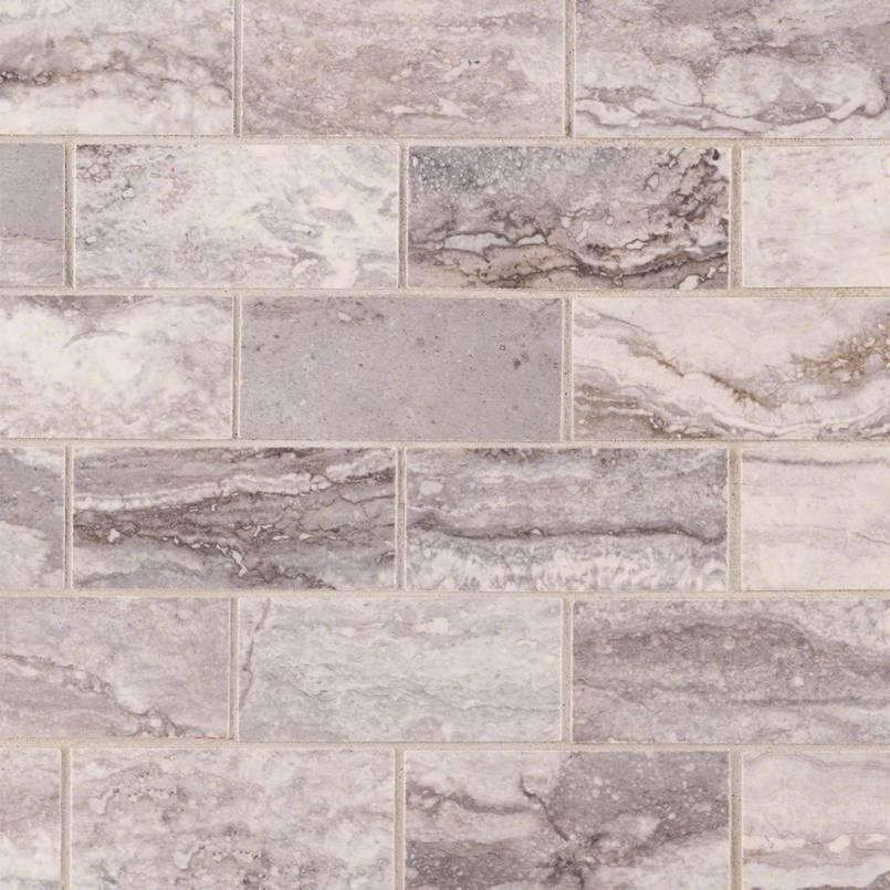 Pietra Bernini Carbone 2x4 Brick Mosaic