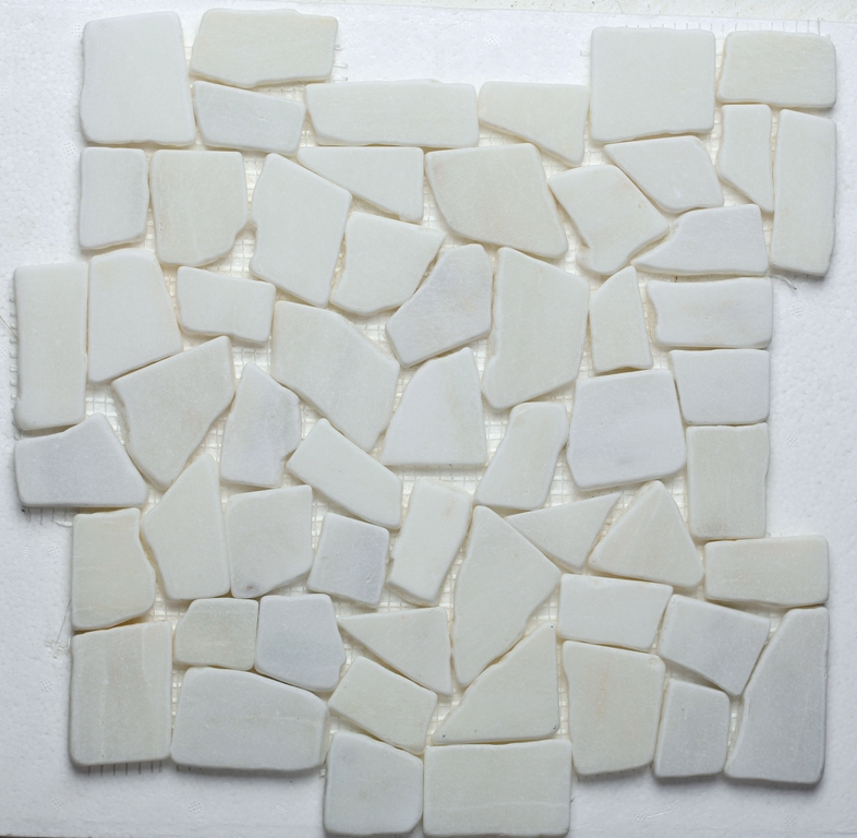 FREE SHIPPING - Frost White Natural 12x12 Interlocking Pebbles