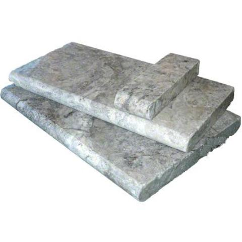Silver Travertine 4x12 5CM Tumbled Pool Coping