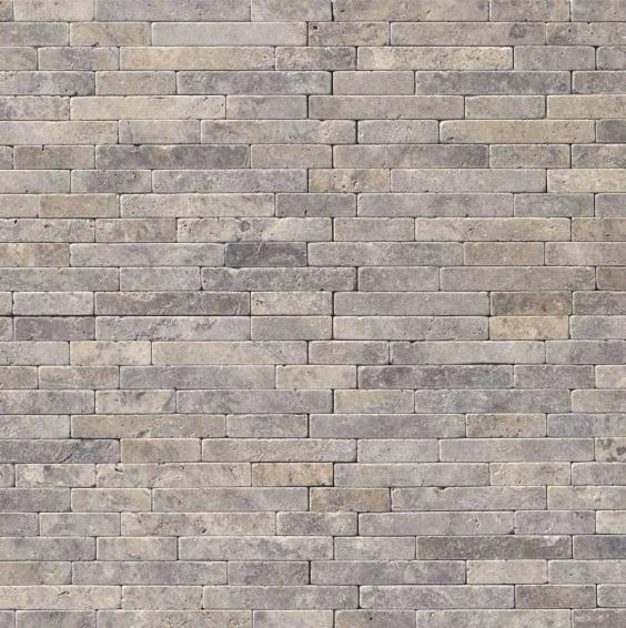 Silver Ash 8x18 Tumbled Veneer Mosaic