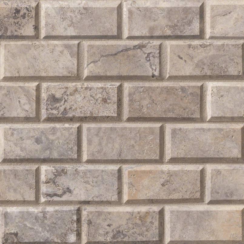 Silver Travertine 2x4 Brick Mosaic
