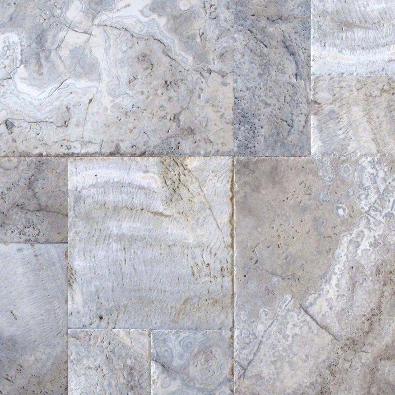 Silver Travertine Versailles Pattern Honed Unfilled Chipped Brushed
