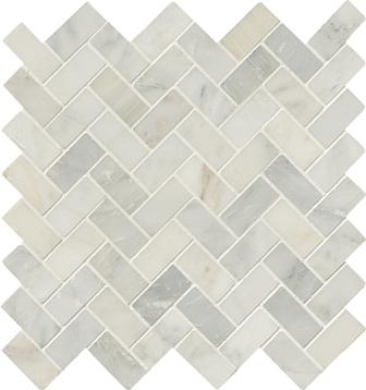 Carrara 1x2 Herringbone Honed