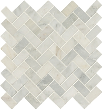 Carrara White 1x2 Herringbone Honed