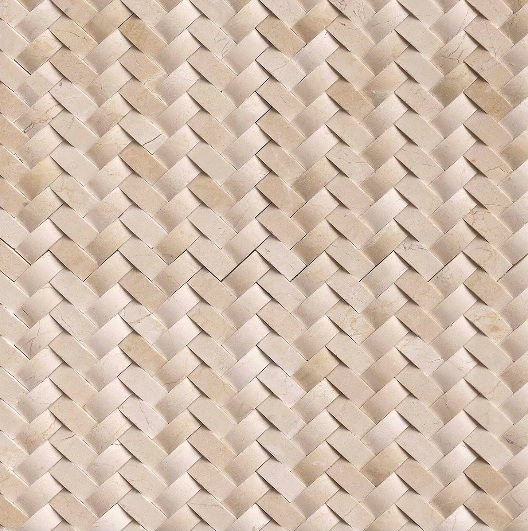 FREE SHIPPING - Crema Marfil Arched 12x12 Herringbone Polished Mosaic