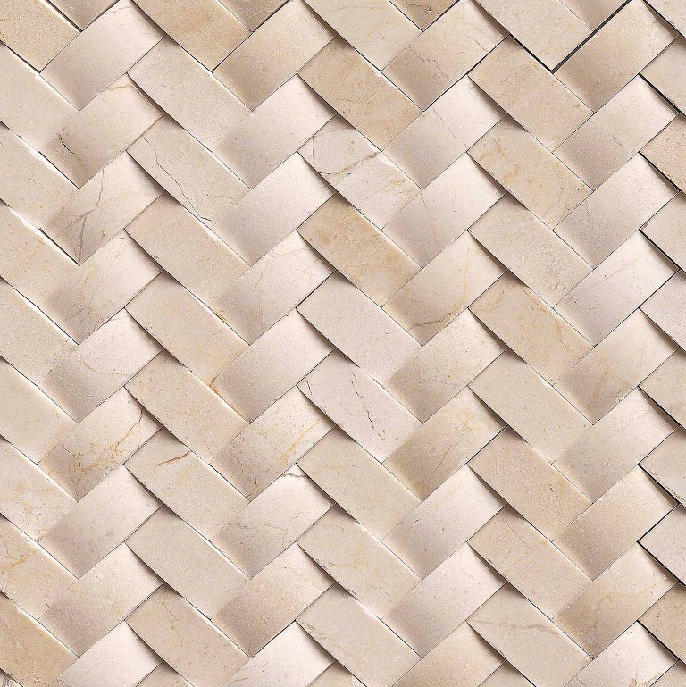 Crema Marfil Arched 12x12 Herringbone Polished Mosaic